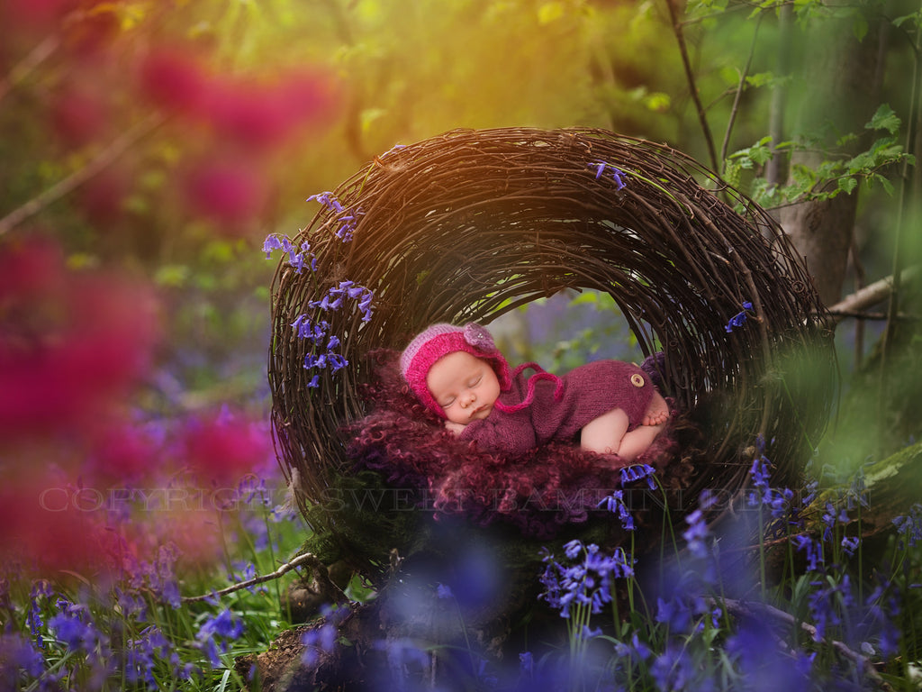 Newborn Digital Backdrop-Rustic wreath set amongst the bluebells