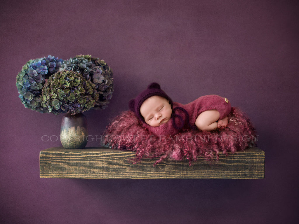 Newborn Digital Backdrop - Rustic wooden shelf with fresh hydrangeas and a deep pink nest