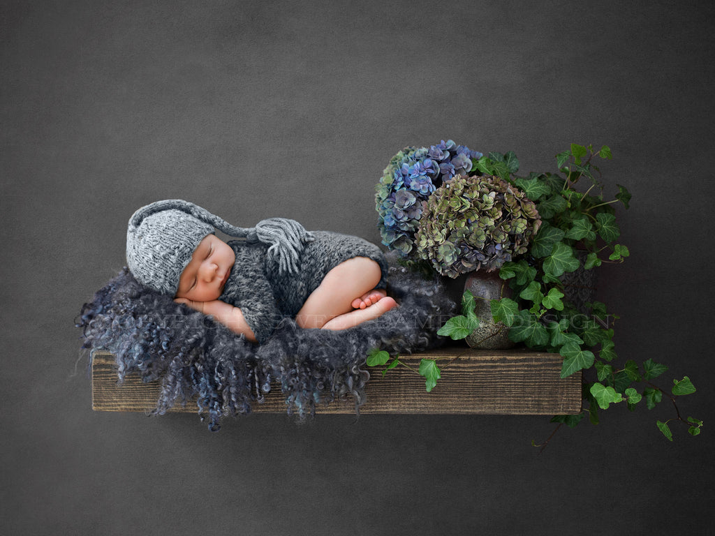 Newborn Digital Backdrop - Rustic wooden shelf with ivy & hydrangeas - shelf digital
