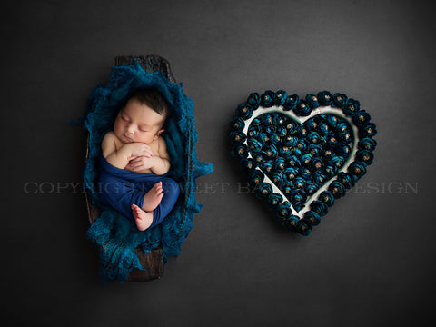 Newborn Photography Digital Backdrop - Wooden bowl and a navy blue floral heart