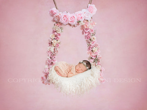 Newborn Digital Backdrop for girls - Pink floral swing - TILLY 2