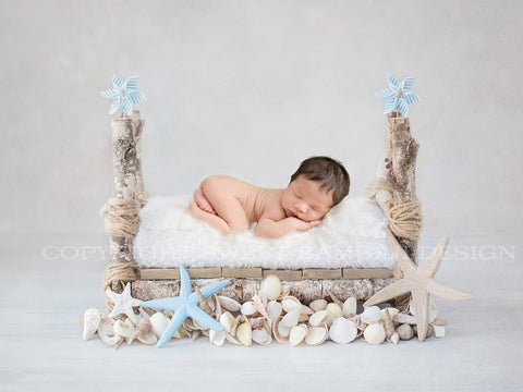Newborn Photography Digital Backdrop - Little bed with a seaside theme with sea shells, starfish and blue windmills