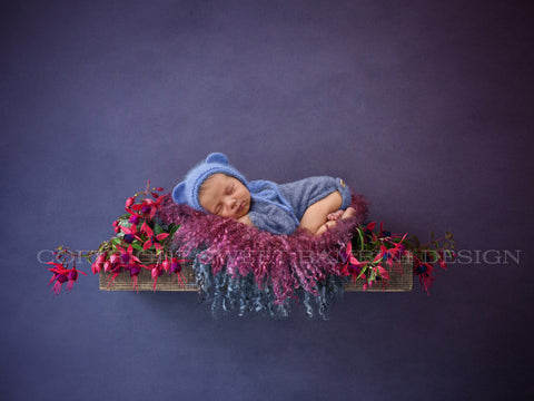 Newborn Digital Backdrop - Rustic wooden shelves with pretty pink fuschias on a purple background