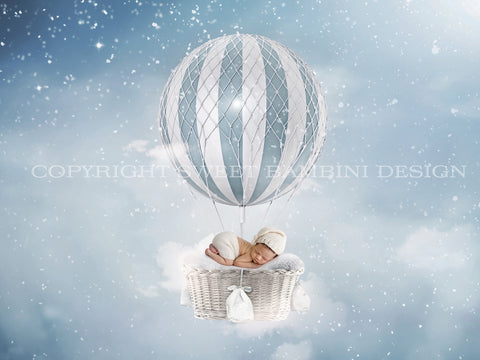 Newborn Digital Backdrop - Snowy Winter balloon in blue