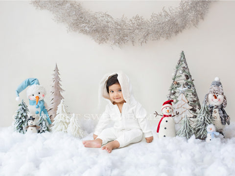Sitter Christmas Digital Backdrop - Christmas Snowmen