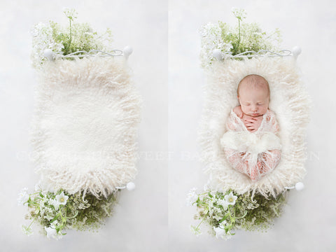 Newborn Digital Backdrop - Pretty little vintage bed with white flowers, shot from above