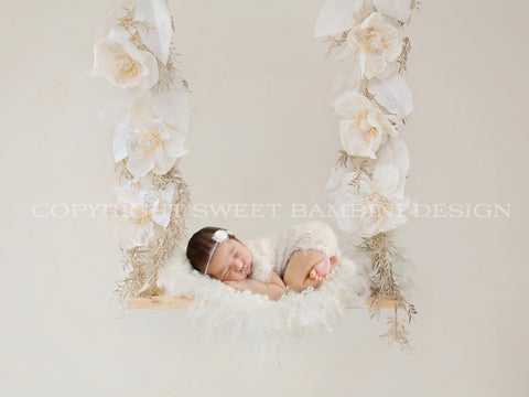 Christmas Newborn Digital Backdrop -  Cream flowers Christmas swing
