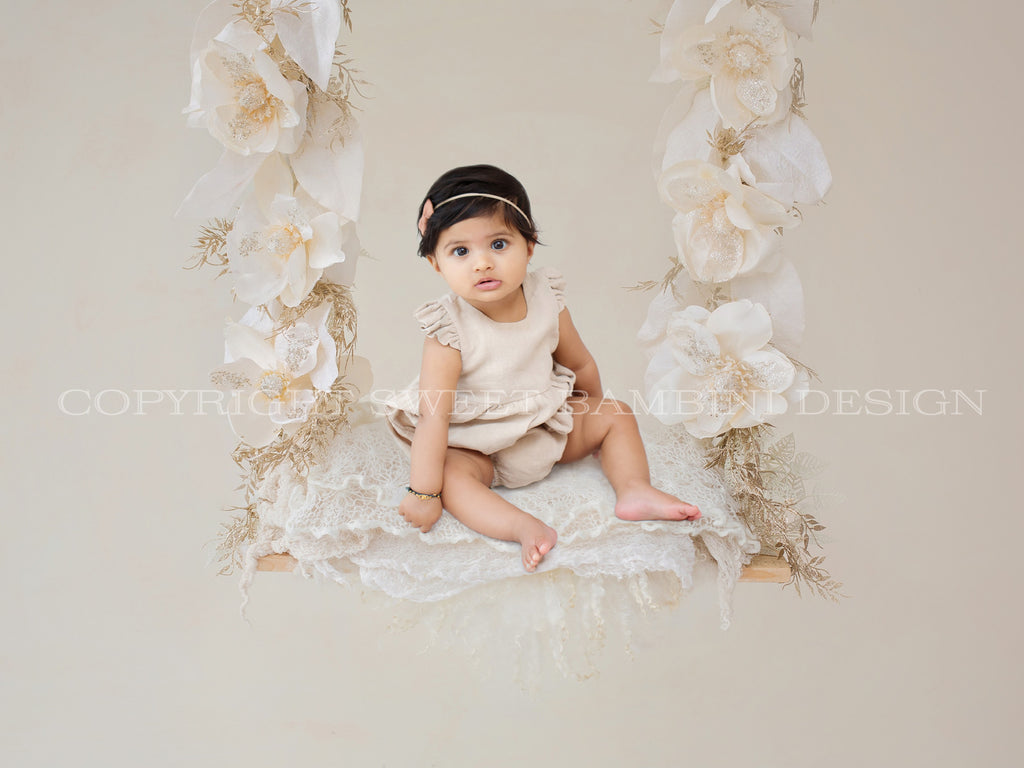 Sitter Digital Backdrop for Christmas -  Christmas flowers swing, cream flowers, christmas digital