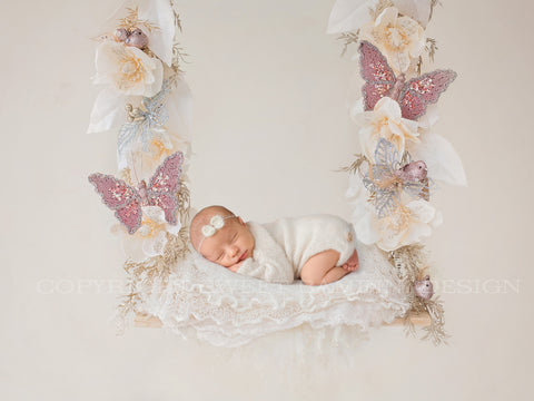 Christmas Digital Backdrop -  Christmas flowers swing, cream flowers, christmas digital, newborn digital, sitter digital