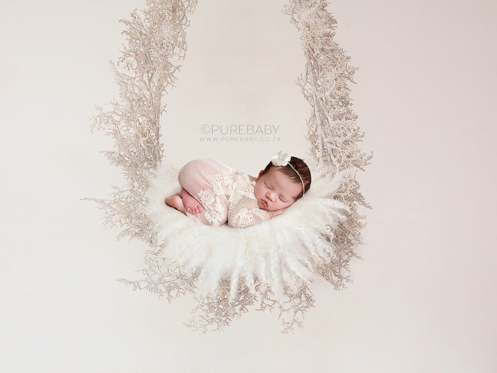 Christmas Newborn Digital Backdrop -  Christmas Sparkly Garland Swing with cream fluff
