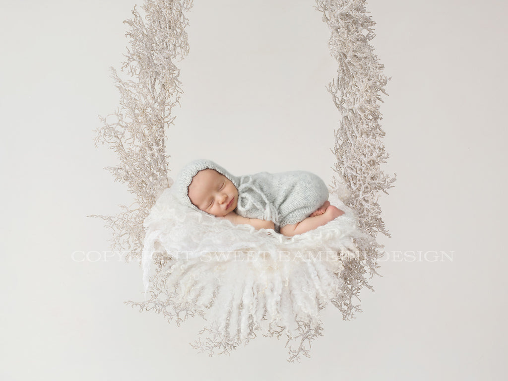 Christmas Newborn Digital Backdrop -  Sparkly winter Swing with knitted blanket