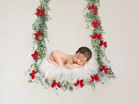 Newborn Christmas Digital Backdrop - Christmas swing with red bows