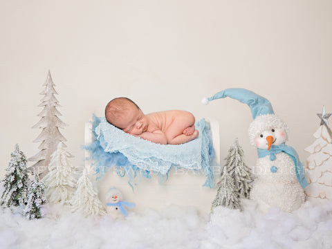Newborn Christmas Digital Backdrop - Baby blue snowman Christmas scene with little bed