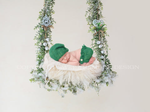 Newborn Christmas Digital Backdrop - Christmas swing in neutrals and greens
