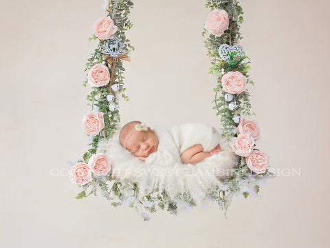 Newborn Christmas Digital Backdrop - Christmas swing with pale pink roses