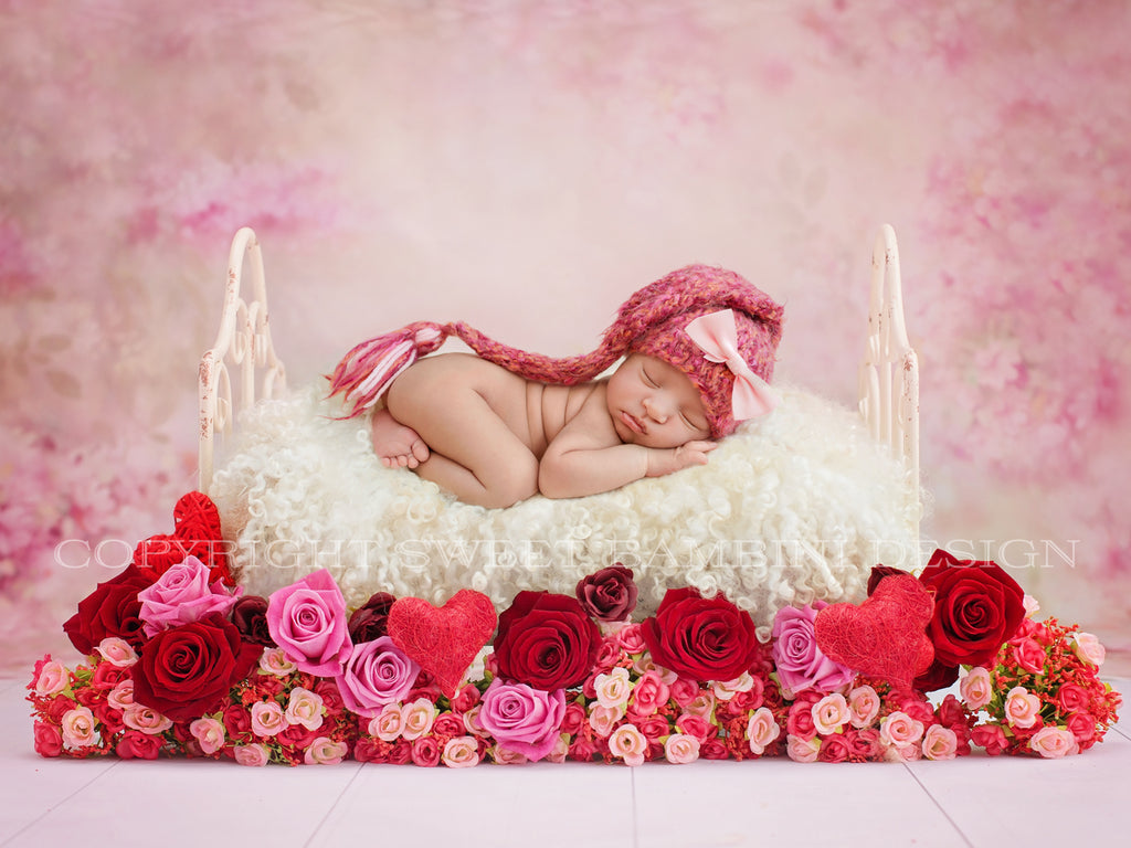 Valentine Newborn Digital Backdrop - Roses and Heart Valentine Bed