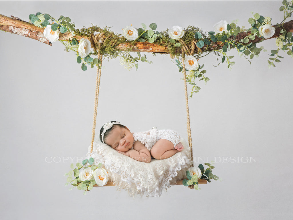 Newborn Photography Digital Backdrop - Natural swing with white roses & eucalyptus
