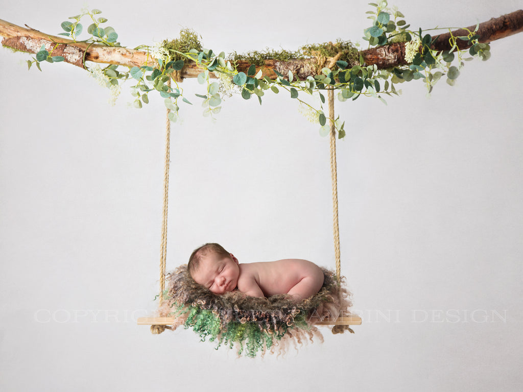 Newborn Photography Digital Backdrop - Natural swing with green moss & eucalyptus