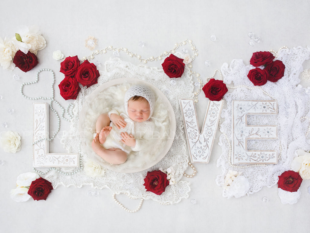 Newborn Digital Backdrop - Valentine Vintage Love with white middle and fresh red roses