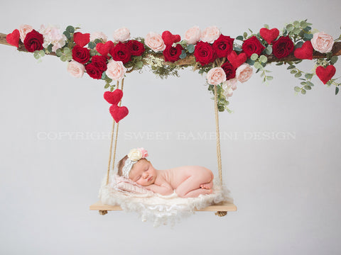Valentine Floral Swing Digital Backdrop - Wooden swing decorated with roses & hearts