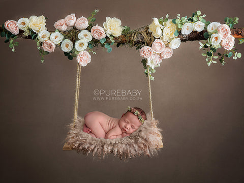 Newborn Floral Swing Digital Backdrop - Wooden swing decorated with pink and white flowers, moss & eucalyptus