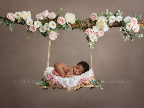 Newborn Floral Swing Digital Backdrop - Wooden swing decorated with roses, moss & eucalyptus