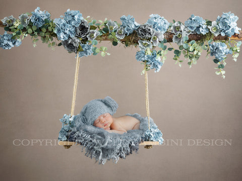 Newborn Floral Swing Digital Backdrop - Wooden swing decorated with blue flowers, moss & eucalyptus