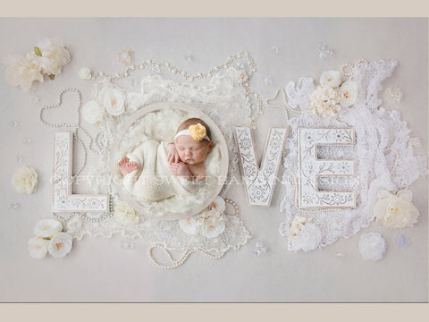 Newborn Digital Backdrop for girls - Vintage Love with whites and creams