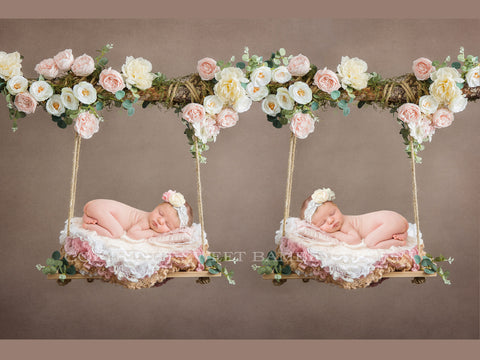 Newborn Digital Backdrop - Twin Floral wooden swings decorated with pink and white flowers, moss & eucalyptus