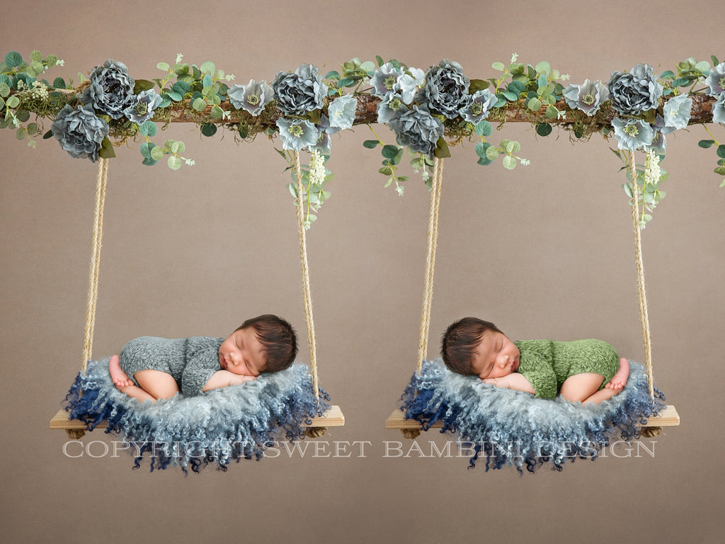 Newborn Digital Backdrop - Twin Wooden floral swings decorated with blue flowers, moss & eucalyptus