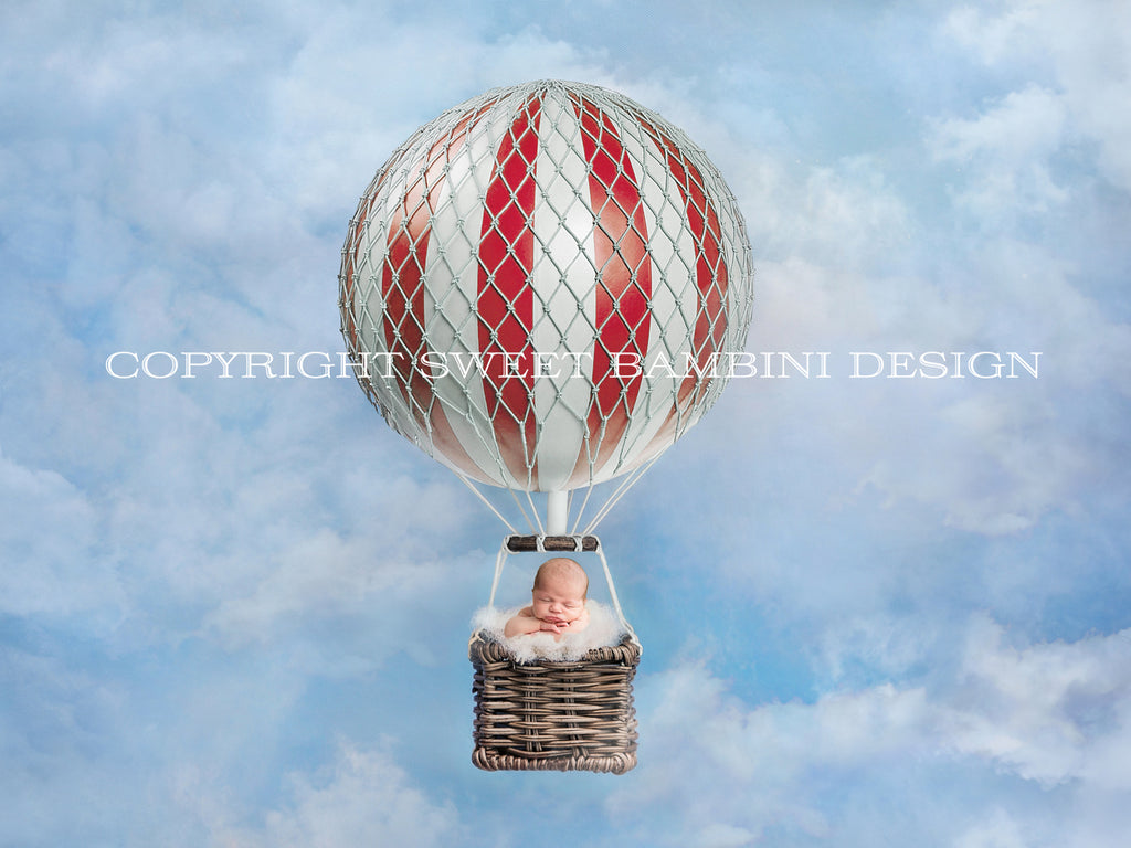 Newborn Digital Backdrop - Red Hot Air Balloon on a sky blue background
