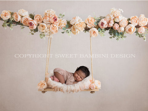 Floral swing Newborn Digital Backdrop decorated with pink and peach flowers - Peaches 'n' Cream