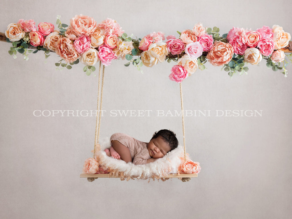 Floral swing Newborn Digital Backdrop decorated with pink and peach flowers - Peaches 'n' Pinks