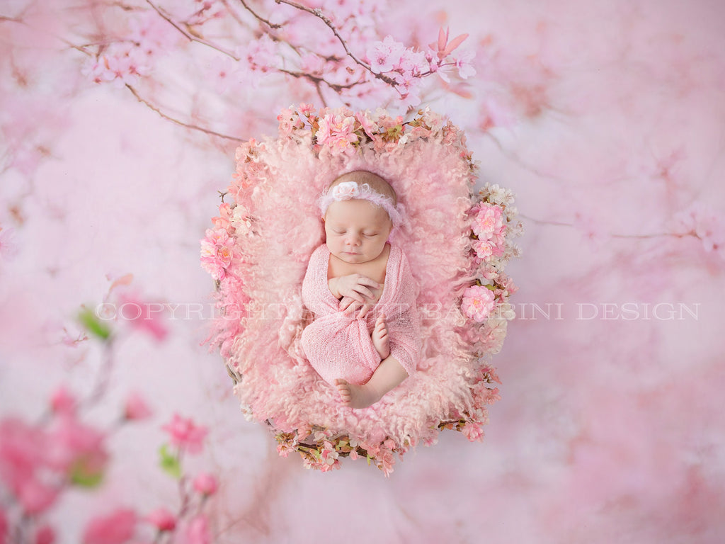 Newborn Digital Backdrop- Pink blossom bed shot on pink blossom background
