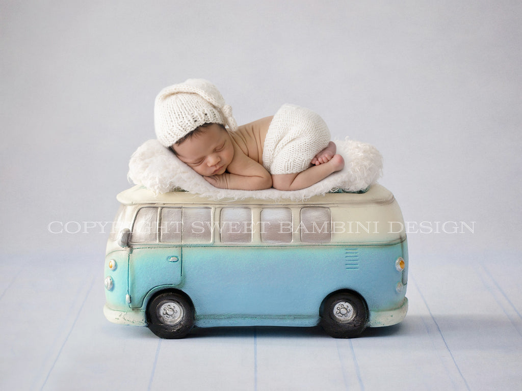 Newborn Digital Backdrop- Blue VW camper van