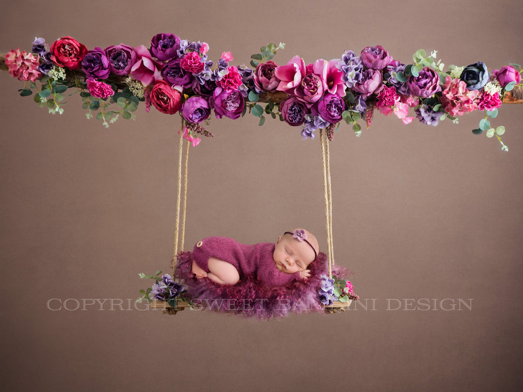 Newborn Floral Swing Digital Backdrop - beautiful peonies in shades of fuschia and purple