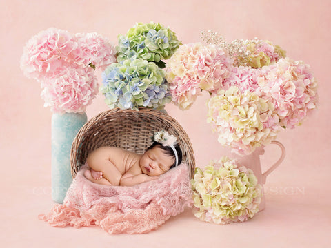 Newborn Digital Backdrop - Wicker basket with fresh hydrangeas on pink background