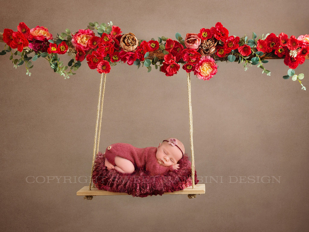 Red poppy floral swing Digital Backdrop for newborns or sitters