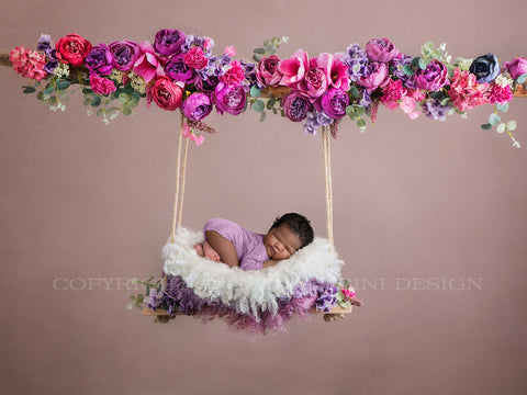 Digital swing backdrop  - Pink and purple peonies, suitable for newborns & sitters