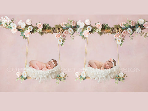 Newborn Twins Floral Swing Digital Backdrop - Wooden swing decorated with roses, moss & eucalyptusl