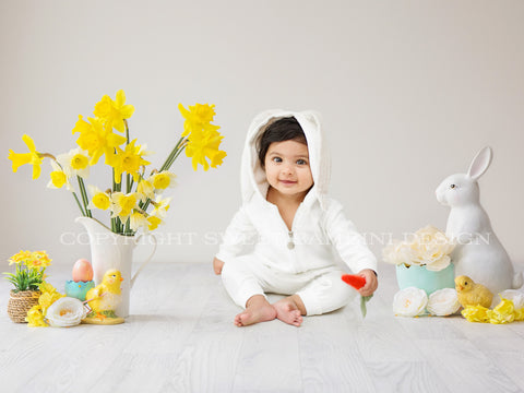 Sitter Digital Backdrop -  Easter Scene with fresh daffodils