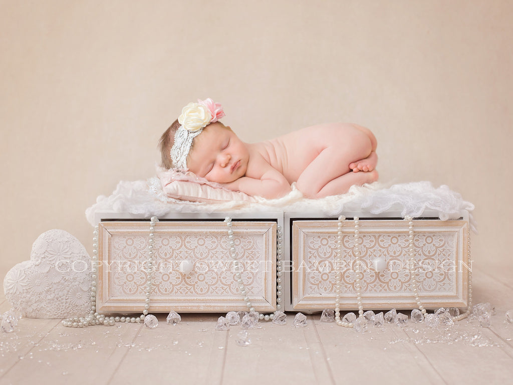 Newborn Digital Backdrop - Vintage Drawers with Diamonds and Pearls