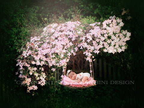 2 x Newborn Floral Swing Digital Backdrop - Outdoor swing shot under a pink clematis bush (2 versions)