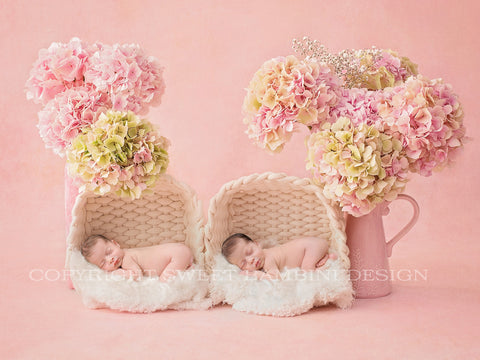 Twin Newborn Digital Backdrop - Fresh hydrangeas on pink, with nappy png's