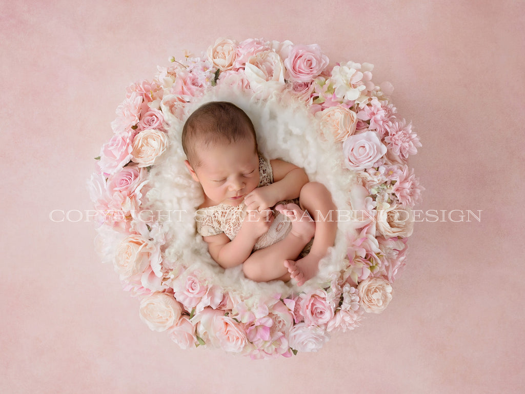 Newborn Digital Backdrop - Pink and white floral wreath shot on a pink background