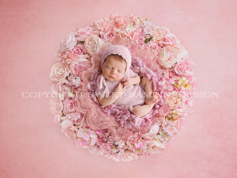 Newborn Digital Backdrop - Gorgeous flower nest