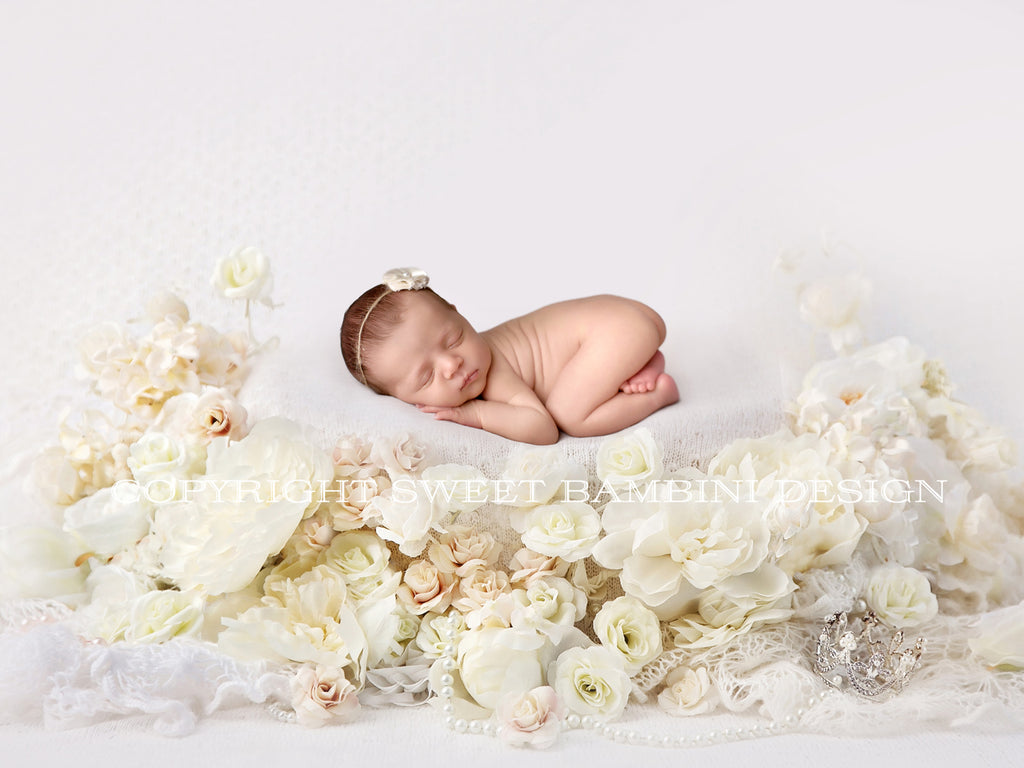 Newborn Digital Backdrop - seamless off white blanket surrounded by white and cream florals