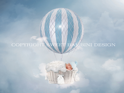 Newborn Digital Backdrop - Baby Blue hot air balloon