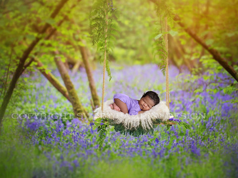 Newborn Digital Background - Lovely Wooden Swing in Bluebell Woods