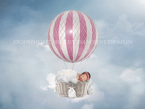 Newborn Digital Backdrop - Pink and White Hot Air Balloon on a sky blue background